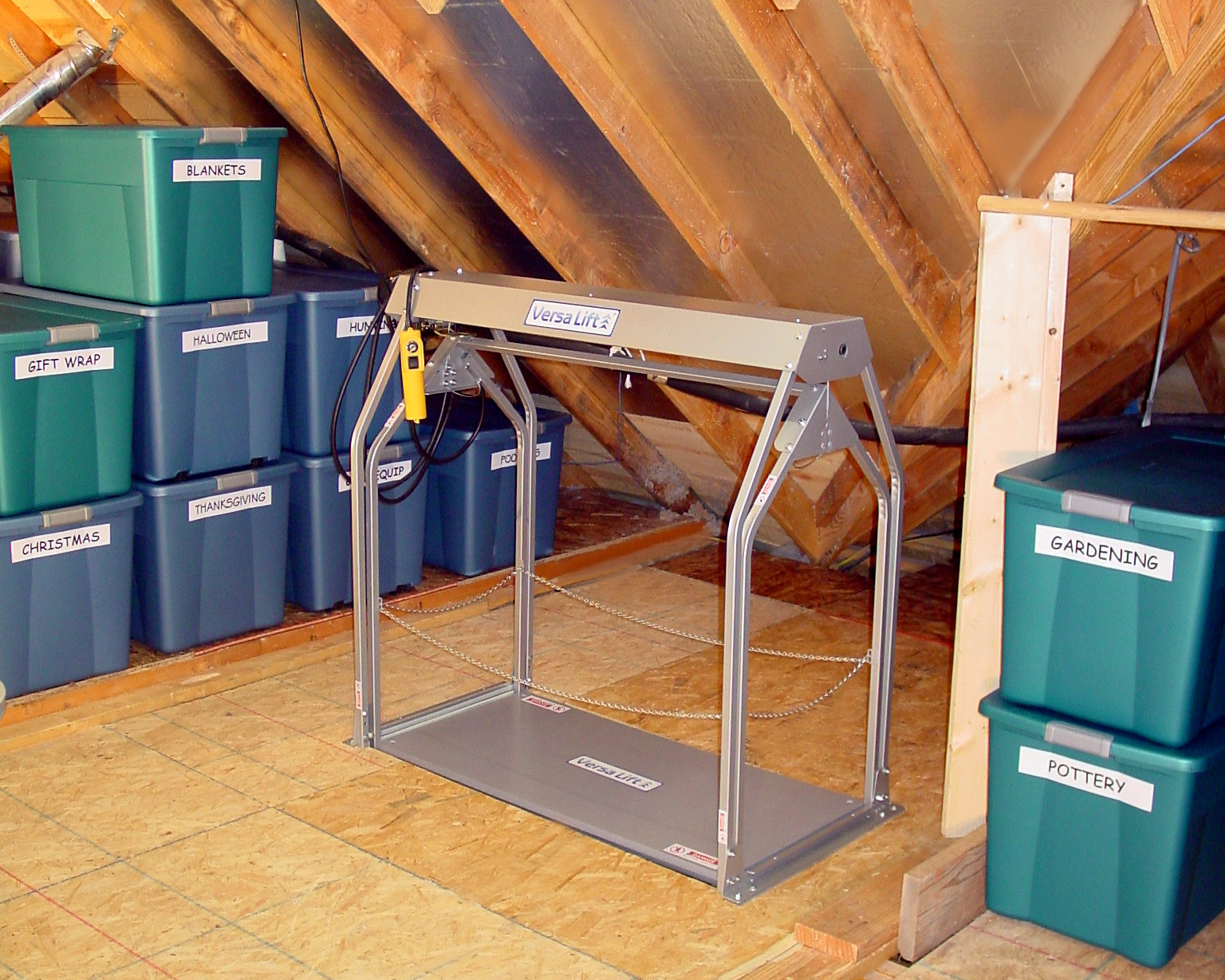 At baxter residential elevators we represent only the for Garage attic storage